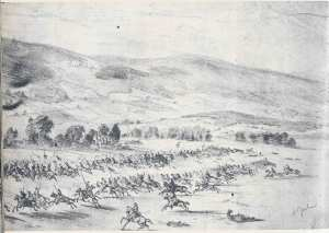 The Charge of the Federal Cavalry at Upperville, June 21, 1863, Edwin Forbes